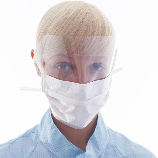 image representing bioclean vfm sterile mask with attached face shield visor and ties